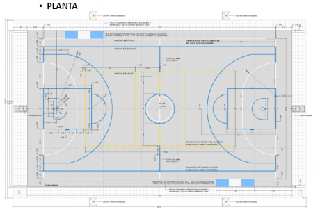 Tres Lomas - Plano del playón Polideportivo