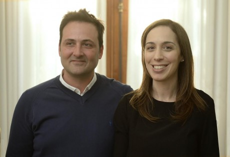 Vidal, María Eugenia con intendente de Chacabuco