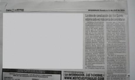 Río Quinto - recorte diario proporcionado por el municipio de Pehuajó