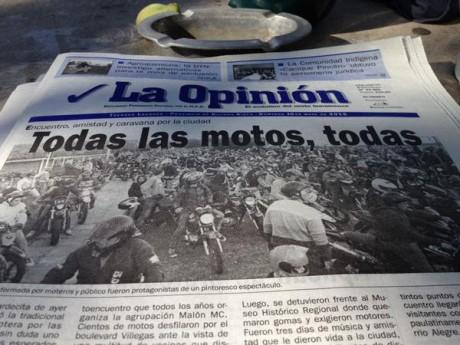 La Opinión - Tapa del domingo - Encuentro de Motos