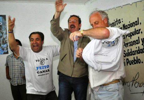 Trenque Lauquen Rodríguez con Saredi y Feito en un festejo electoral (imagen de archivo)