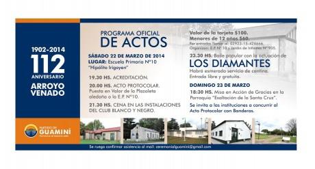 Arroyo Venado - Programa de actos