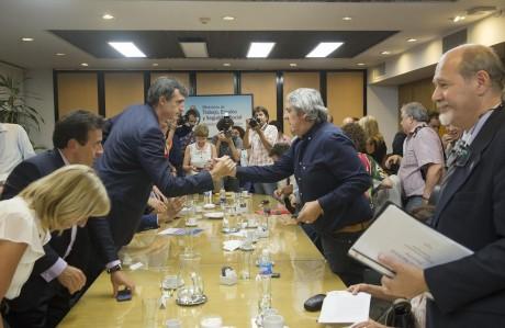 Bulrich, Esteban con sindicalistas docentes