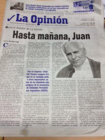 Nazar, Juan Ramón tapa de la edición de este jueves del diario La Opinión
